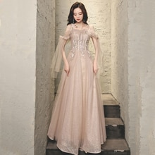 Evening Dress Boat Neck Luxurious Spaghetti Strap Flowers Embroidery A-Line Floor-Length Lace Up Wom