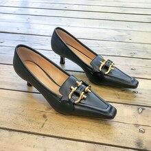 Web celebrity same style French retro small square head stiletto heel stiletto single shoe women 2020 spring/summer everything