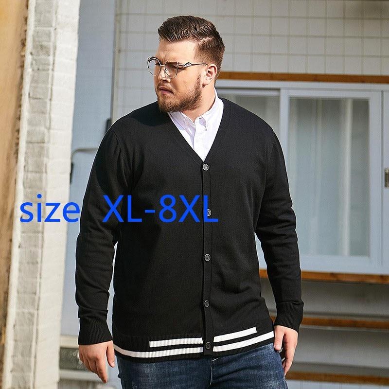جديد الأزياء السوبر كبيرة الربيع الخريف الرجال سترة رقيقة معطف عارضة الأزياء الخامس الرقبة الكمبيوتر محبوك سترة زائد حجم XL-7XL 8XL