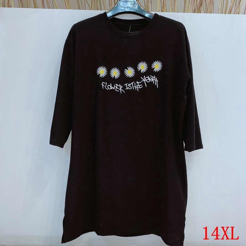 Camiseta Grande para mujer de talla grande 9XL 10X 12XL14XL cuello redondo de verano manga corta informal holgado camiseta negra de talla grande siz