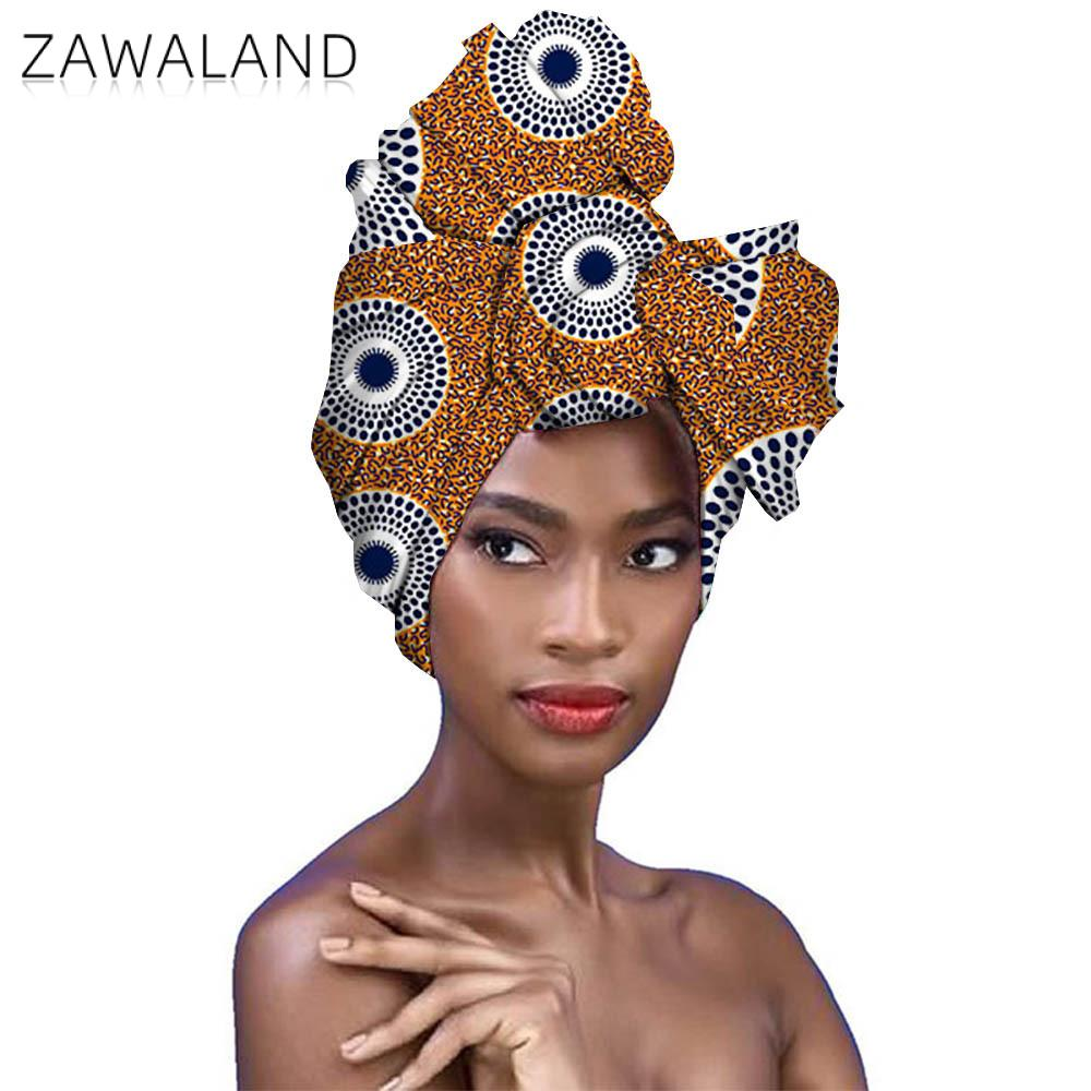 Zawaland African Style Bow Women Head Scarves Fashion Printed Turban Hair Accessories Geometric Pattern Knotted Turban Wrap