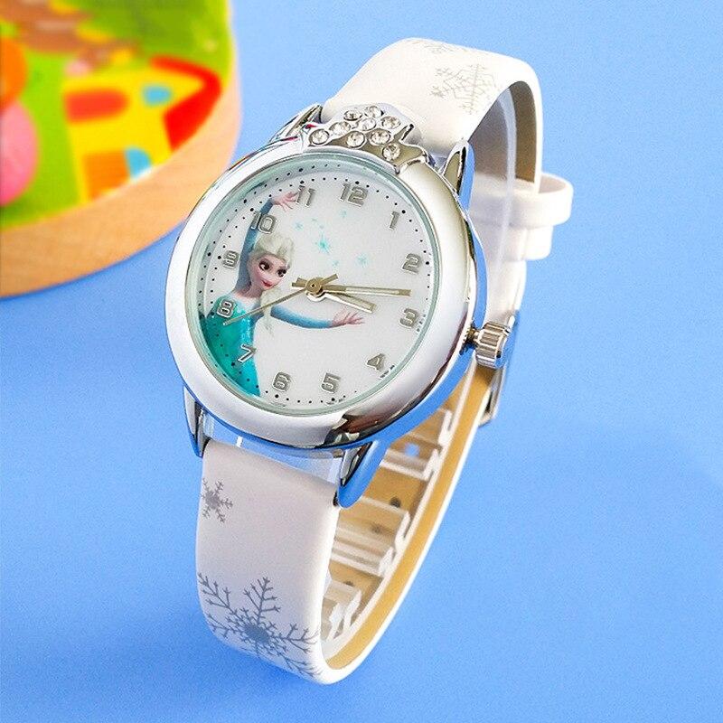Pattern Princess  Children Watch Fashion Crystal Cartoon Leather Quartz Wristwatch for Girls Kids waterproof