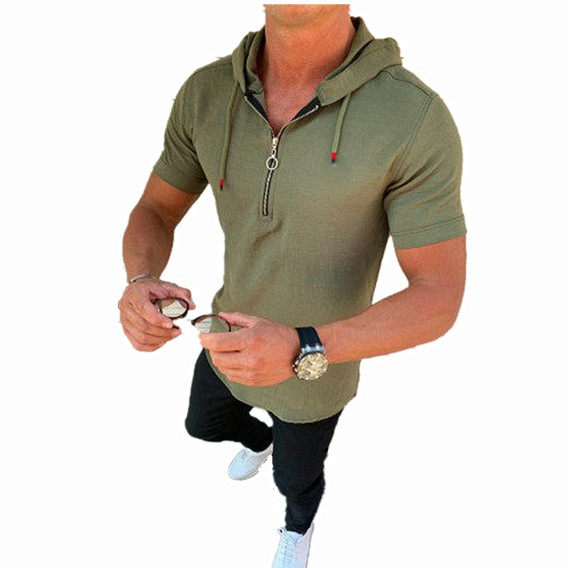 2020 New Mens T-shirt - Solid Color Zipper Hooded Cover -Slim Cotton and Linen Shirt