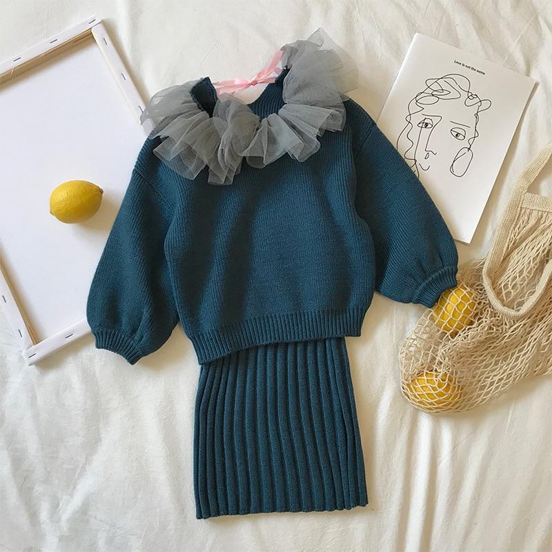2020 nuevo Otoño Invierno Niñas Ropa Conjunto jersey Ins + falda conjuntos niños ropa Conjunto 2 uds conjunto navidad niños ropa