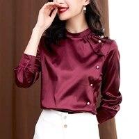 korean women silk shirts satin blouses woman silk beading blouse women long sleeve shirts tops plus size woman ruflles shirt top