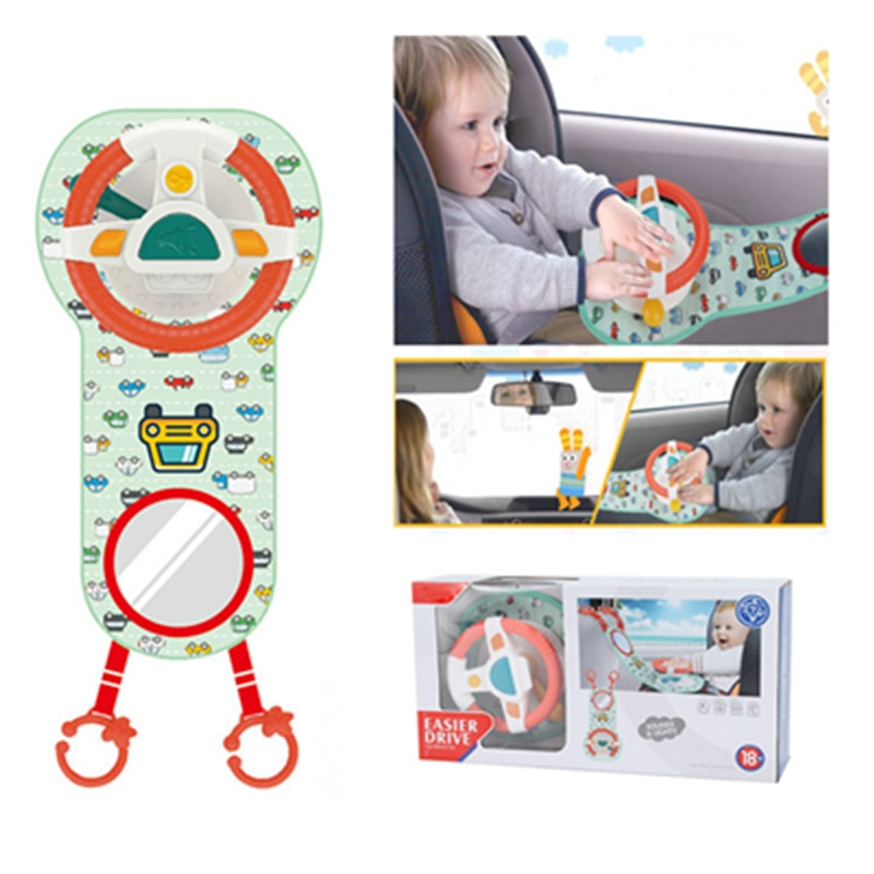 Baby Kids Eletric Simulation Steering Wheel Toy Driving Interactive Musical Educational Car Seat Back For Infant Boys Girls