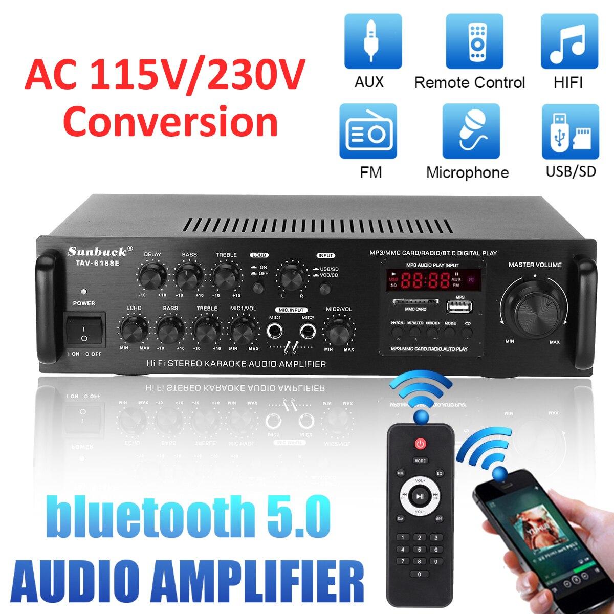 115-230 فولت 2000 واط اللاسلكية الرقمية الصوت EQ ستيريو أمبير سيارة المنزل 2CH AUX USB FM SD HiFi بلوتوث الصوت ستيريو مكبر كهربائي