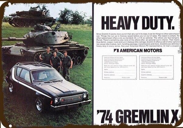 1974 Amc Gremlin X Auto Vintage Look Replik Metall Zeichen Heavy Duty Armee Tank