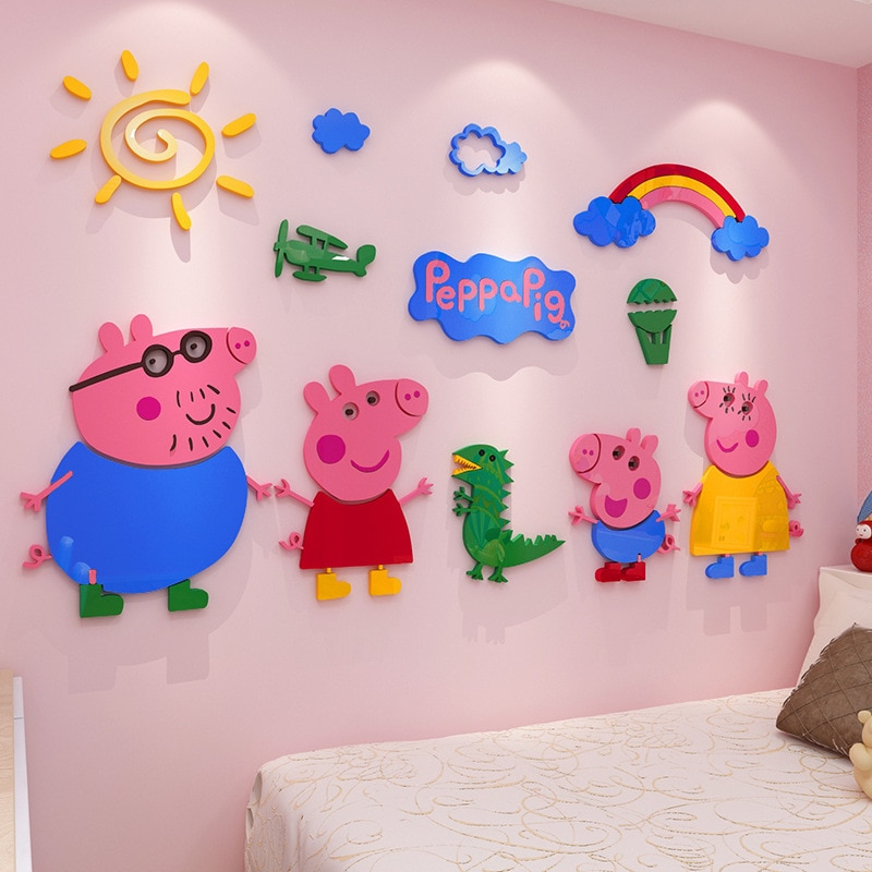 Original Peppa Pig niños etiqueta de la pared de acrílico 3D habitación de dibujos animados de niños y niñas dormitorio adhesivo de papel