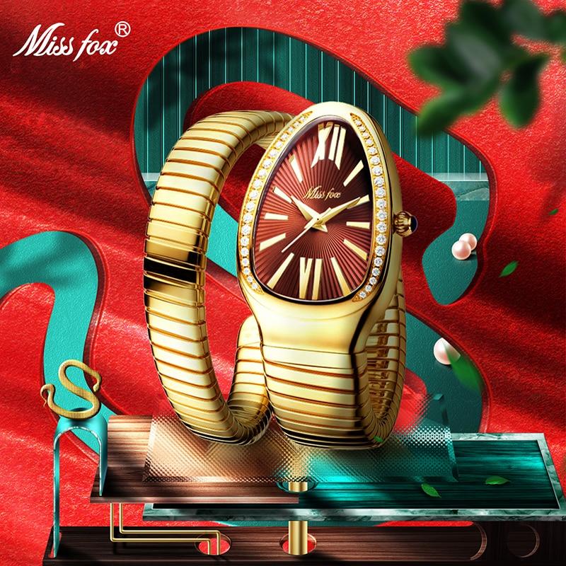 MISSFOX المرأة الساعات ثعبان شكل ساعة معصم فاخرة للنساء الصلب فريد الذهب الكوارتز السيدات ساعة ساعة Relogio Feminino