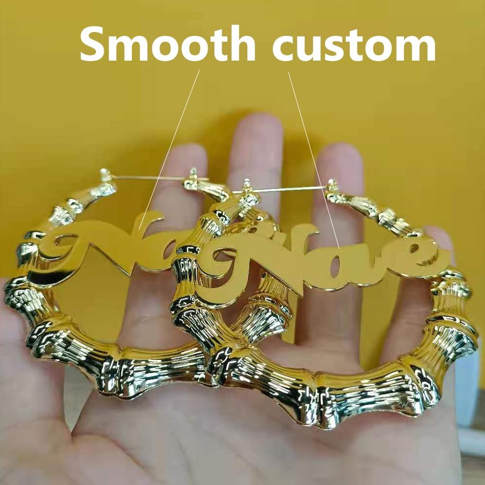 Bamboo Earrings Hoop Earrings For Women Stainless Steel Woman Large Earrings Bamboo Hoop Earrings With Custom Name Jewelry