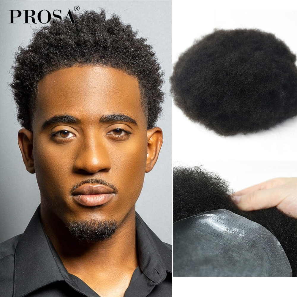 8x10 Afro Curl Men's Wig Man Thin Skin V-looped Hair System Wig For Men Fashion Natural Male Wig Man Hairpiece Natural Mens