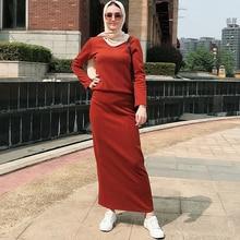 Siskakia المرأة قطعتين فستان مجموعة البني الأحمر موضة 2 قطعة مجموعة بدلة طويلة الأكمام أعلى تنورة ماكسي سميكة الخريف الشتاء الملابس 2019