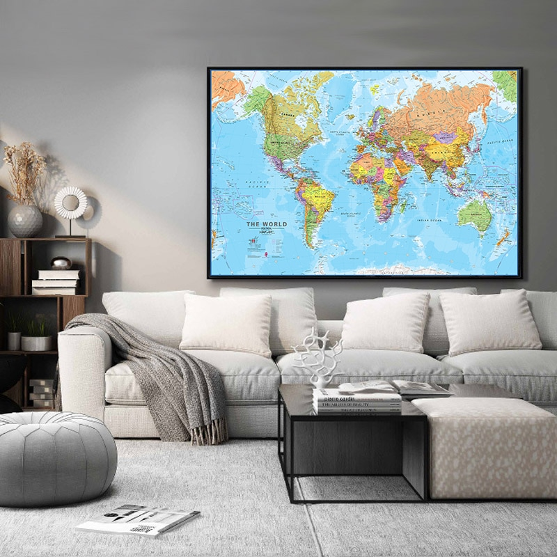 100x150cm The World Physical Map Non-woven Spray World Map Without National Flag Wall Art for Culture and Education Office Decor