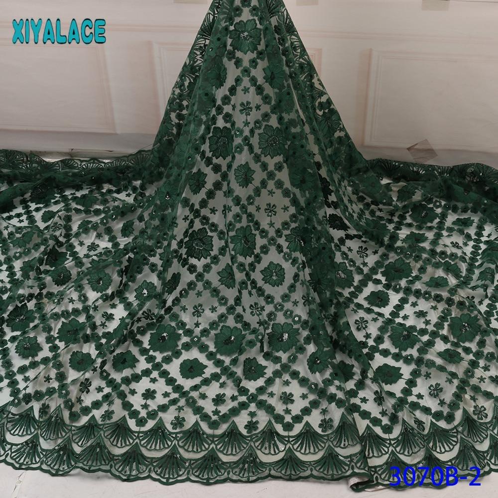 2019 High Quality Latest African Lace Fabric New Sequins Lace Fabric French Tulle Lace Fabric Nigerian Wedding Green KS3070B