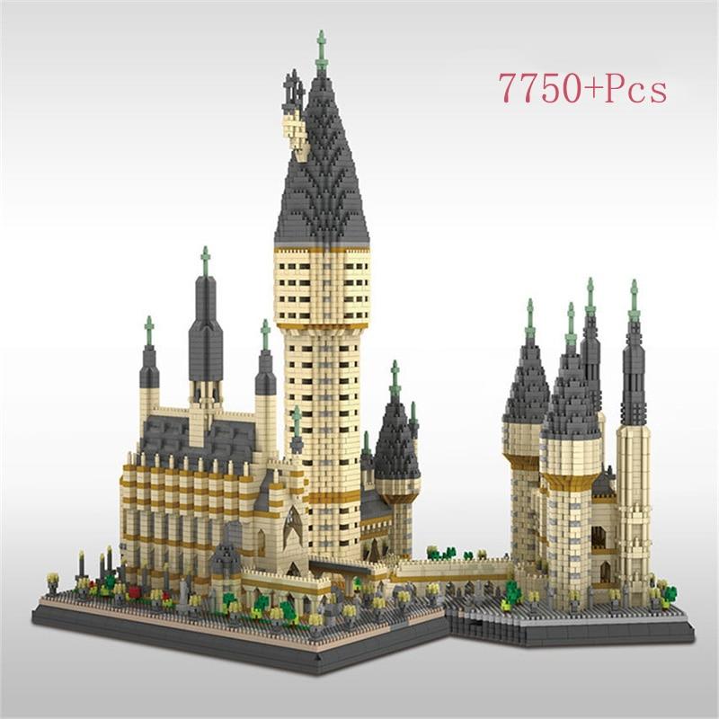 Bloques DIY de modelo de Castillo para escuela de magia de Potter, bloques de construcción de partículas, juguetes educativos para regalo de Navidad y cumpleaños, lepining