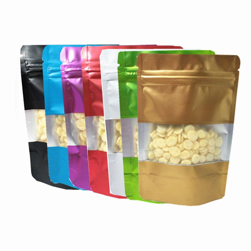 100 pçs/lote folha de alumínio fosco snack zip bloqueio levanta-se saco de embalagem com janela seco flor chá mylar folha armazenamento sacos
