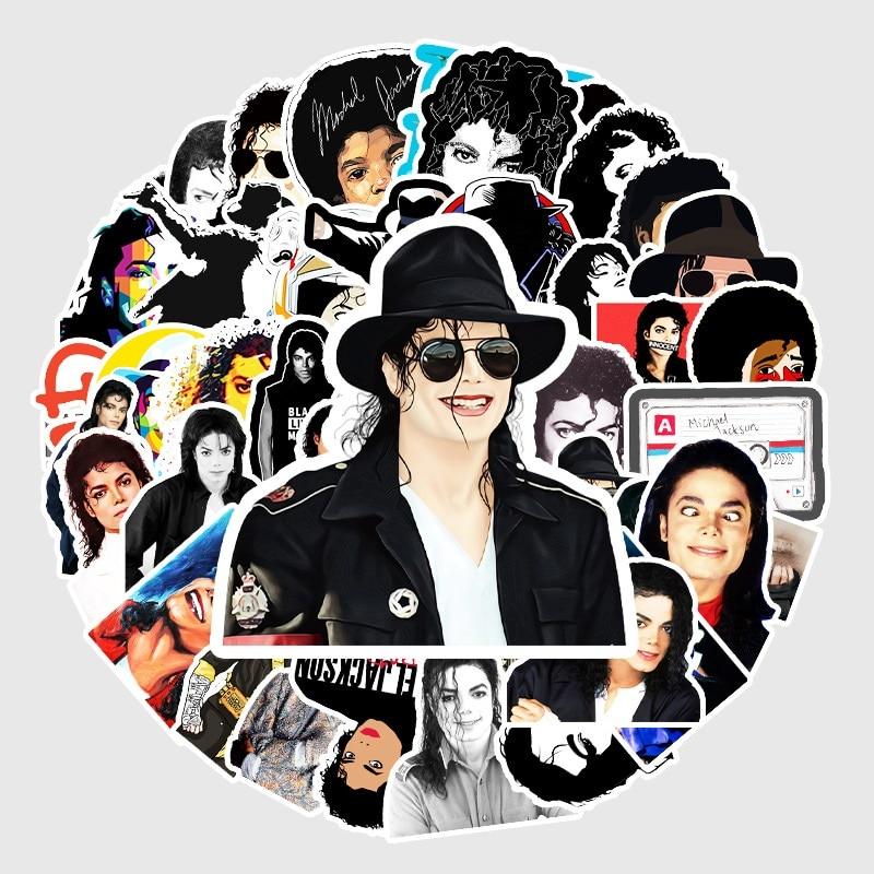 10/50 Uds. Michael Jackson pegatinas de grafiti DIY Adhesivo resistente al agua de PVC pegatinas para monopatín refrigerador portátil pegatinas para guitarra