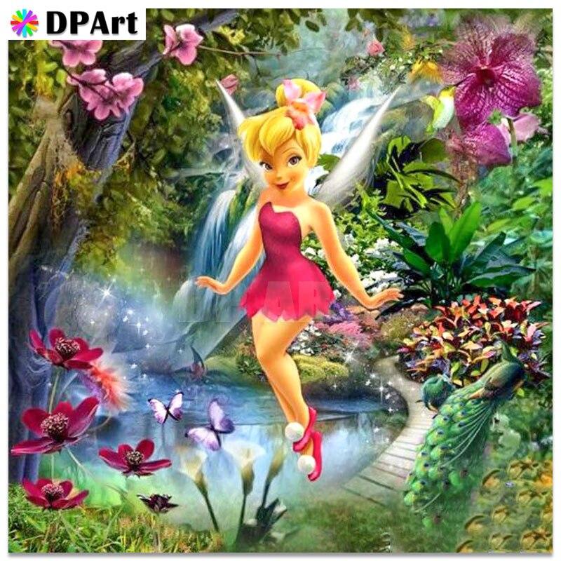 Pintura de diamante de imitación de diamante de princesa Daimond 5D Full Square/Round Spirit Cartoon Elves bordado cristal mosaico Cruz D248