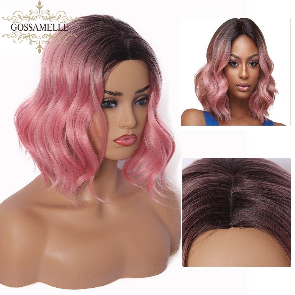 Gossamelle Ombre pelucas rosadas cortas onduladas pelucas sintéticas para mujeres resistentes al calor Bob Cosplay pelucas Perruque coute