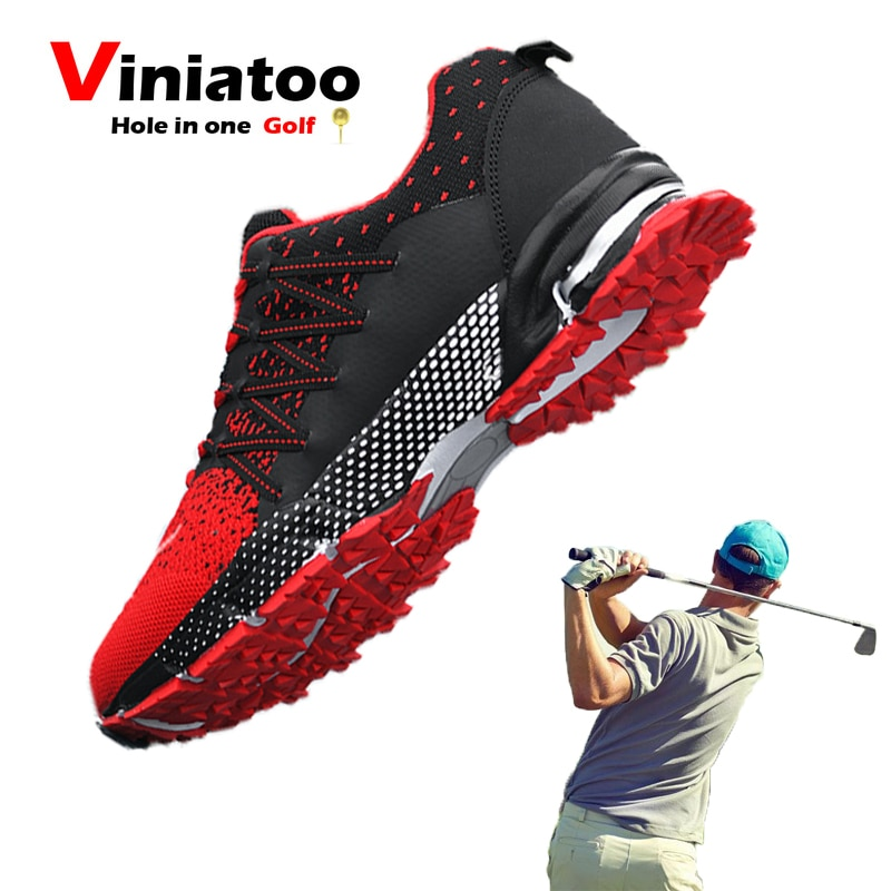 New Breathable Golf Shoes Men Red Black Outdoor Light Weight Quality Golf Sneakers Men Comfortable Walking Gym Sneakers