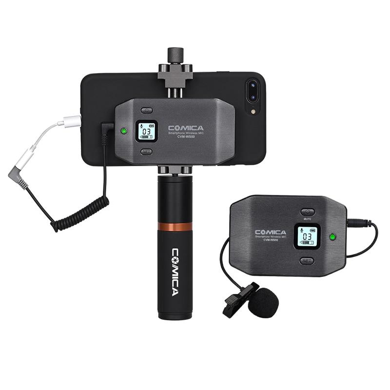 Comica CVM-WS50 (B) sistema de micrófono Lavalier inalámbrico para teléfono inteligente UHF 6 canales con soporte metálico integrado para teléfono inteligente