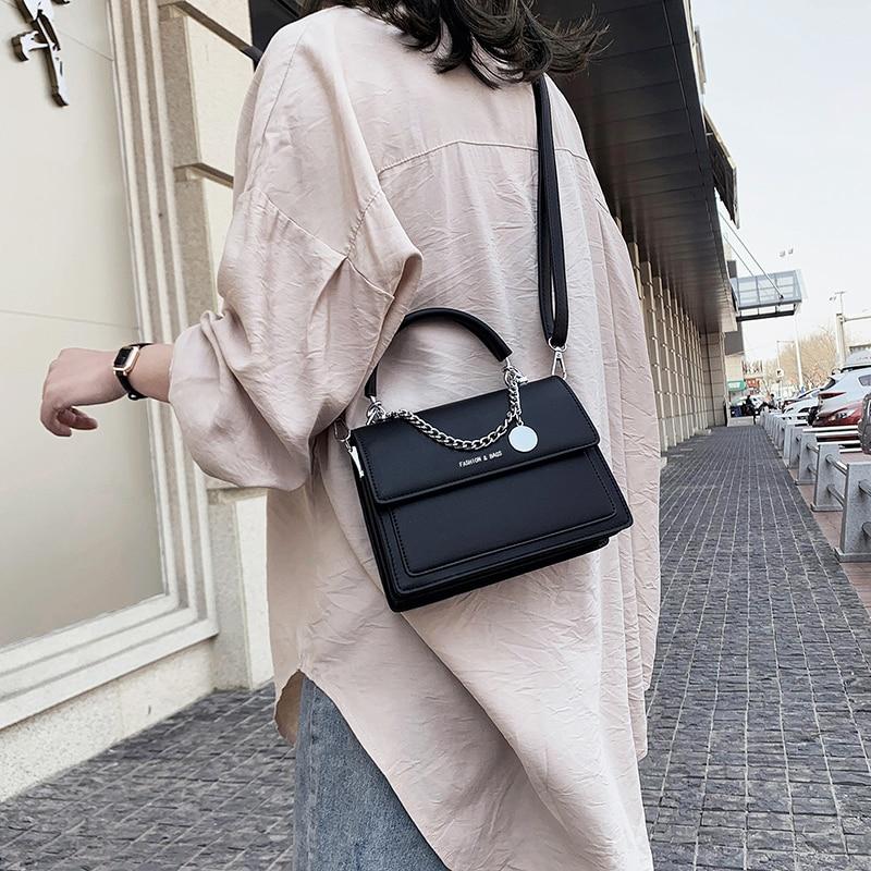Lady's Small Square HandBag 2021 New Chains Bag Casual All-match Female Shoulder Bag Trendy Bag Women Cross body Bag Girl Black