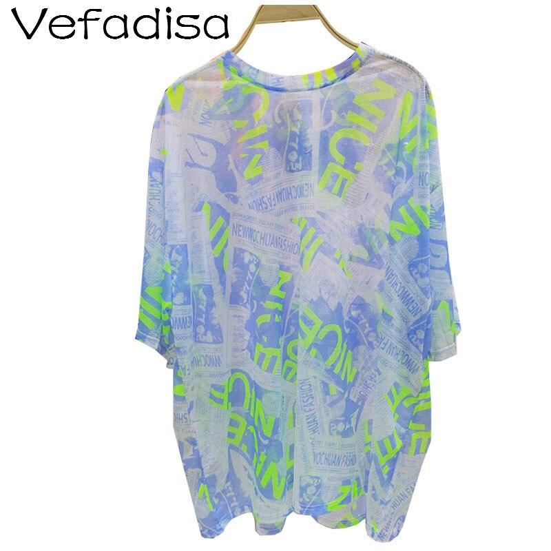 Vefadisa, Camiseta holgada informal con letras para mujer, 2020, camiseta de periódico para mujer, Camiseta holgada de manga corta azul ZQY207B