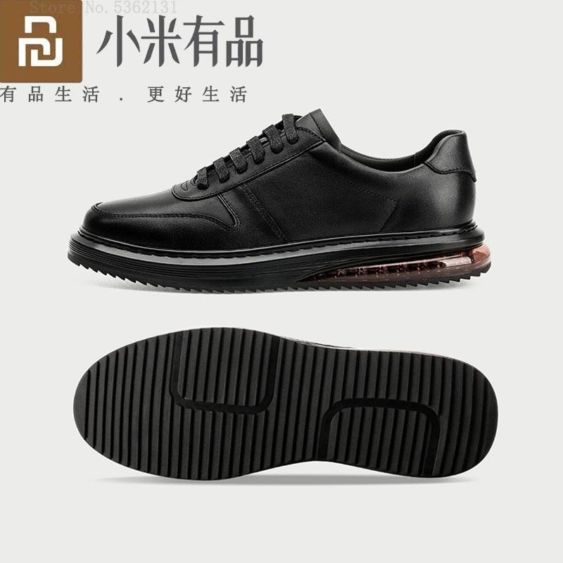 Qimian وسادة هوائية زيادة توسيد أحذية من الجلد امتصاص الصدمات انتعاش أحذية رياضية تنفس الرجال حذاء كاجوال الذكور الأحذية