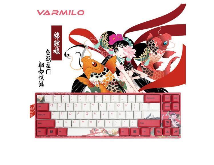 Varmilo koi 68key لوحة مفاتيح ميكانيكية مخصصة خاصة سلكية + بلوتوث 5.0 مفتاح إضاءة خلفي الكرز