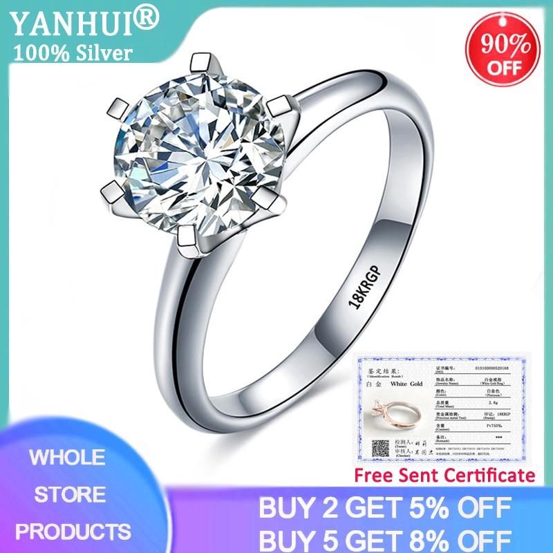 Женское Обручальное Кольцо YANHUI, белое золото 18 К, циркониевое обручальное кольцо с сертификатом класса люкс, 2.0ct, R168