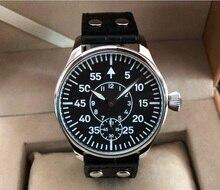 44mm esfera negra Asian 6498 17 jewels movimiento mecánico del viento de la mano reloj Casual para hombres reloj pa197-p8