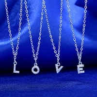womens korean style silver like 26 letter necklace fashion short necklace short silver pendant necklace