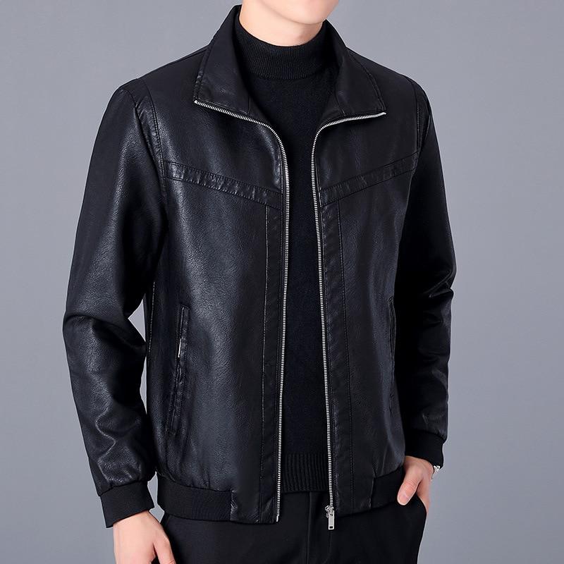 الأسود الخريف الرجال سترة جلدية معطف موجزة الشاب منفذها الستر الربيع سستة سترة جلدية للرجال زائد حجم M-5XL MY266