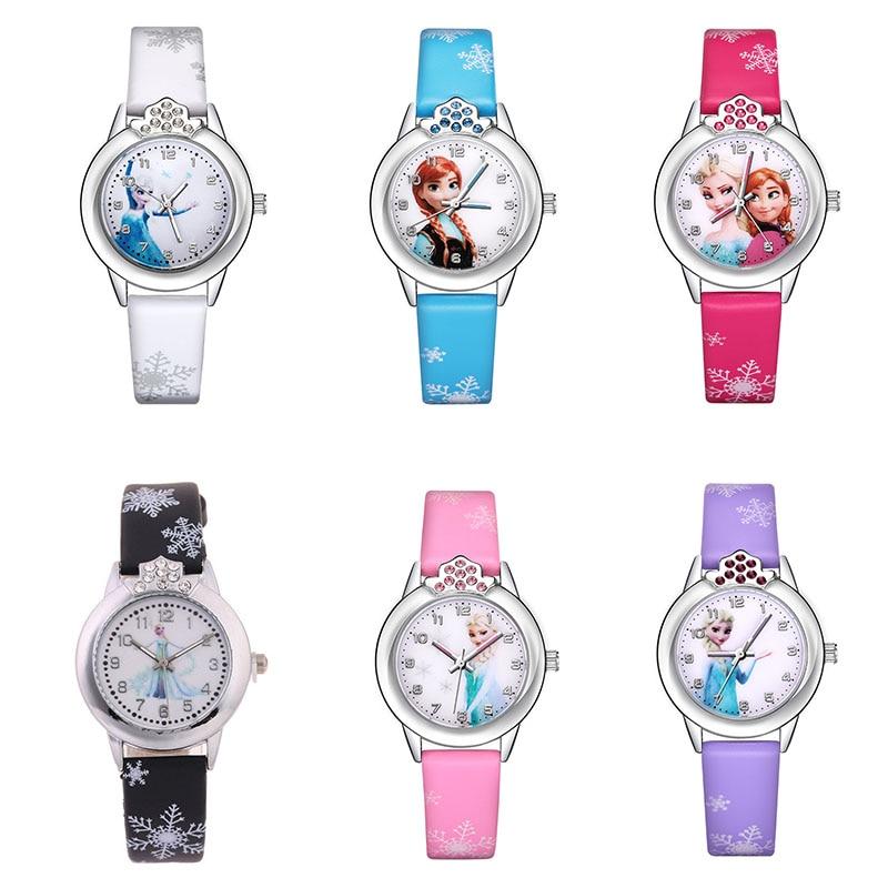 Congelados de reloj de silicona niño relojes de pulsera de cuarzo Anna Aisha películas de dibujos animados niños chica-Reloj de reloj de regalos de juguetes de peluche