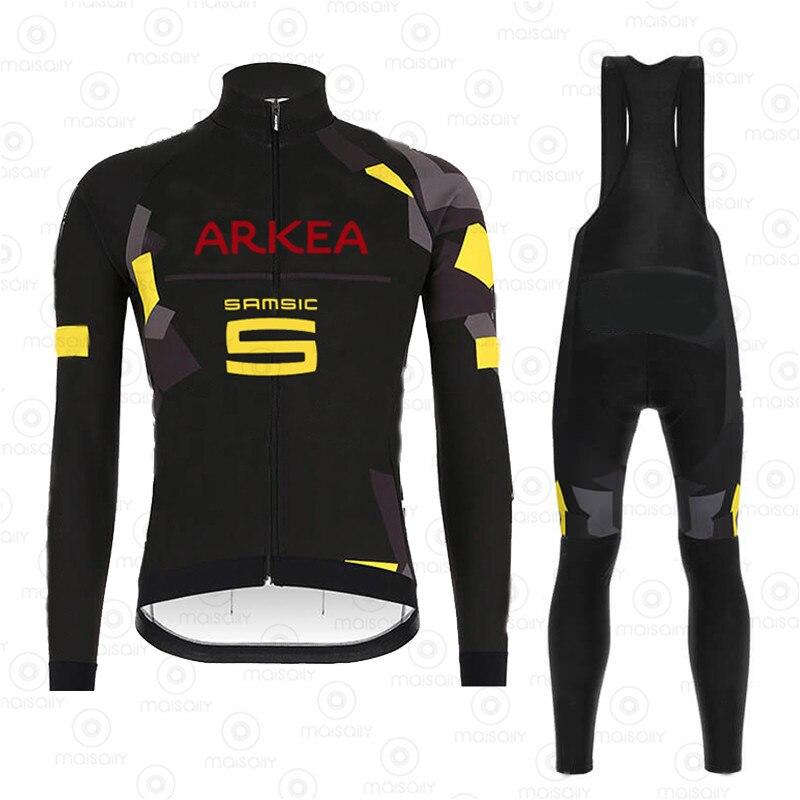 2020 Pro Team Spring Thermal Fleece Cycling Clothes Men Long Sleeve Jersey Suit Outdoor Riding Bike MTB Clothing Bib Pants Set
