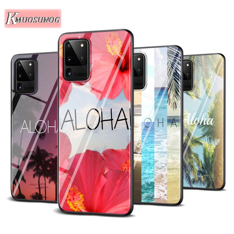 Aloha, moda de palmeras para Samsung Galaxy Note 10 Lite S20Ultra S20 Plus A01 A21 A51 A71 A81 A91, funda de teléfono superbrillante