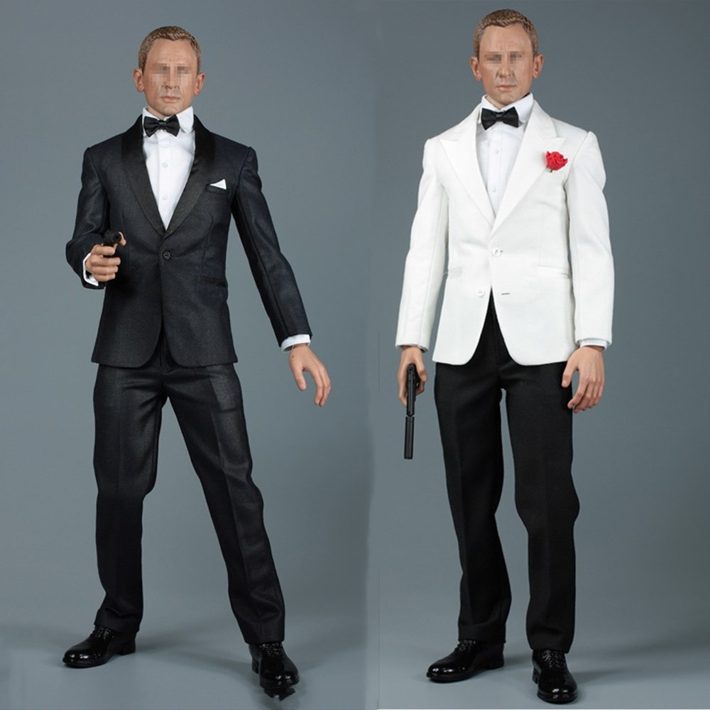 AFS A014 1/6 Scale male suit James Bond black white suit shirt bow tie fit 12 inches action figure
