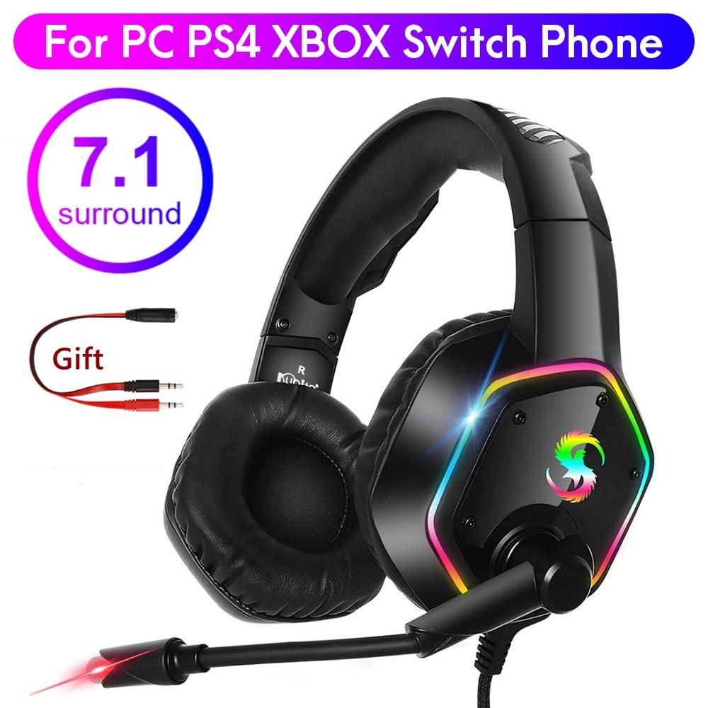 7.1 RGB LED سماعة الألعاب ألعاب لأجهزة الكمبيوتر PS4 PS5 Xbox فوق الأذن إلغاء الضوضاء السلكية سماعة رأس بمايكروفون الكمبيوتر الهاتف