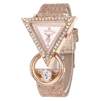 2020 для женщин часы Творческий класса люкс с треугольником стразами циферблат матовый ремешок женская мода кварцевые наручные часы Relojes Mujer Женские часы      АлиЭкспресс