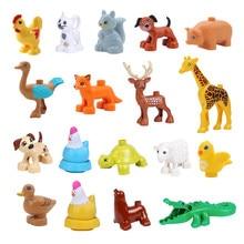 Nouveaux animaux blocs de construction jouets canard poule renne Ostrick renard écureuil oiseau Compatible avec les pièces Duploed