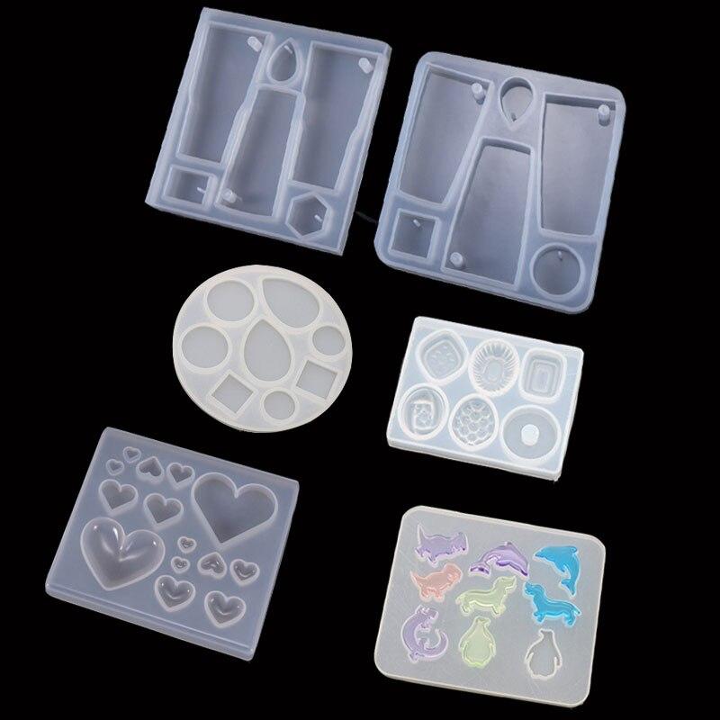 Popular pendiente colgante corazón fruta delfín Oval molde resina UV moldes para joyería herramientas de joyería accesorios de joyería