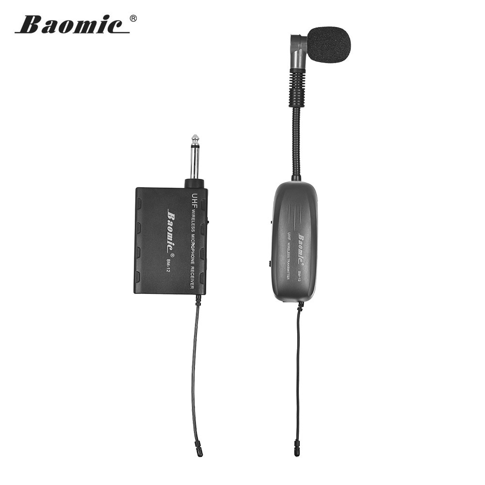 Baomic b M-12/v2 uhf sem fio instrumento microfone sistema receptor & transmissor 16 canais para saxofone trompete francês