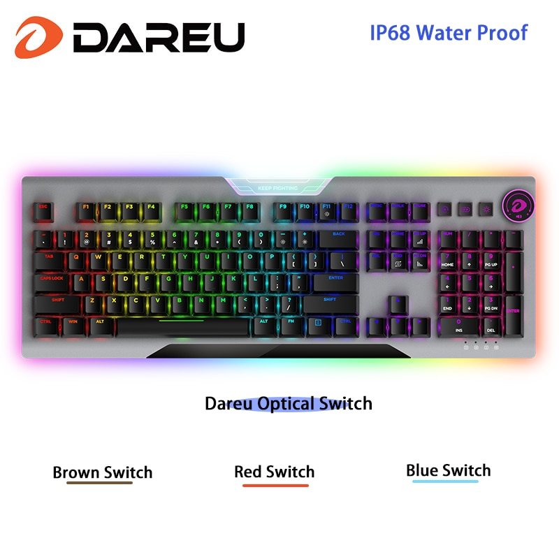 EK925II USB Wired RGB Hotswap Gaming Keyboard 104-Key with Dareu Optical Switch for Windows Mac OS PC