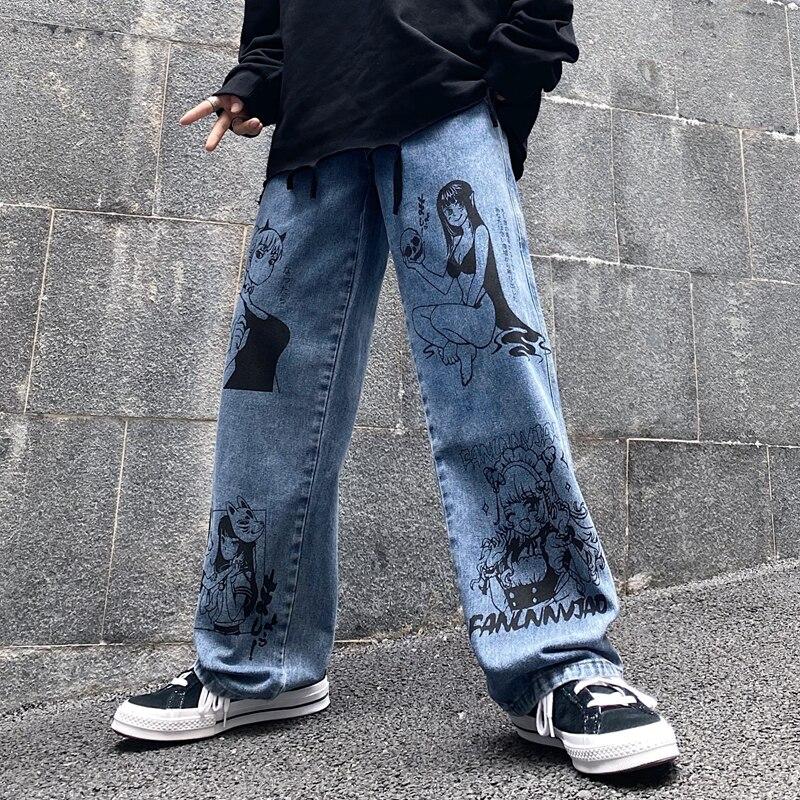 السيدات الشارع الشهير الجينز Harajuku الكرتون أنيمي الرجعية غسلها الجينز المطبوعة الجينز موضة الرجال الجينز فضفاض بنطال ذو قصة أرجل واسعة