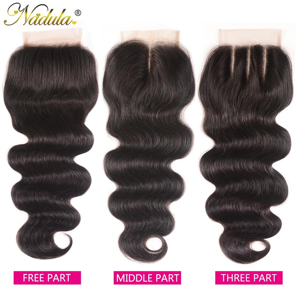 Nadula Hair 4*4 parte media pelo brasileño onda del cuerpo cierre 100% pelo humano Remy pelo suizo Cierre de encaje 10-20 pulgadas