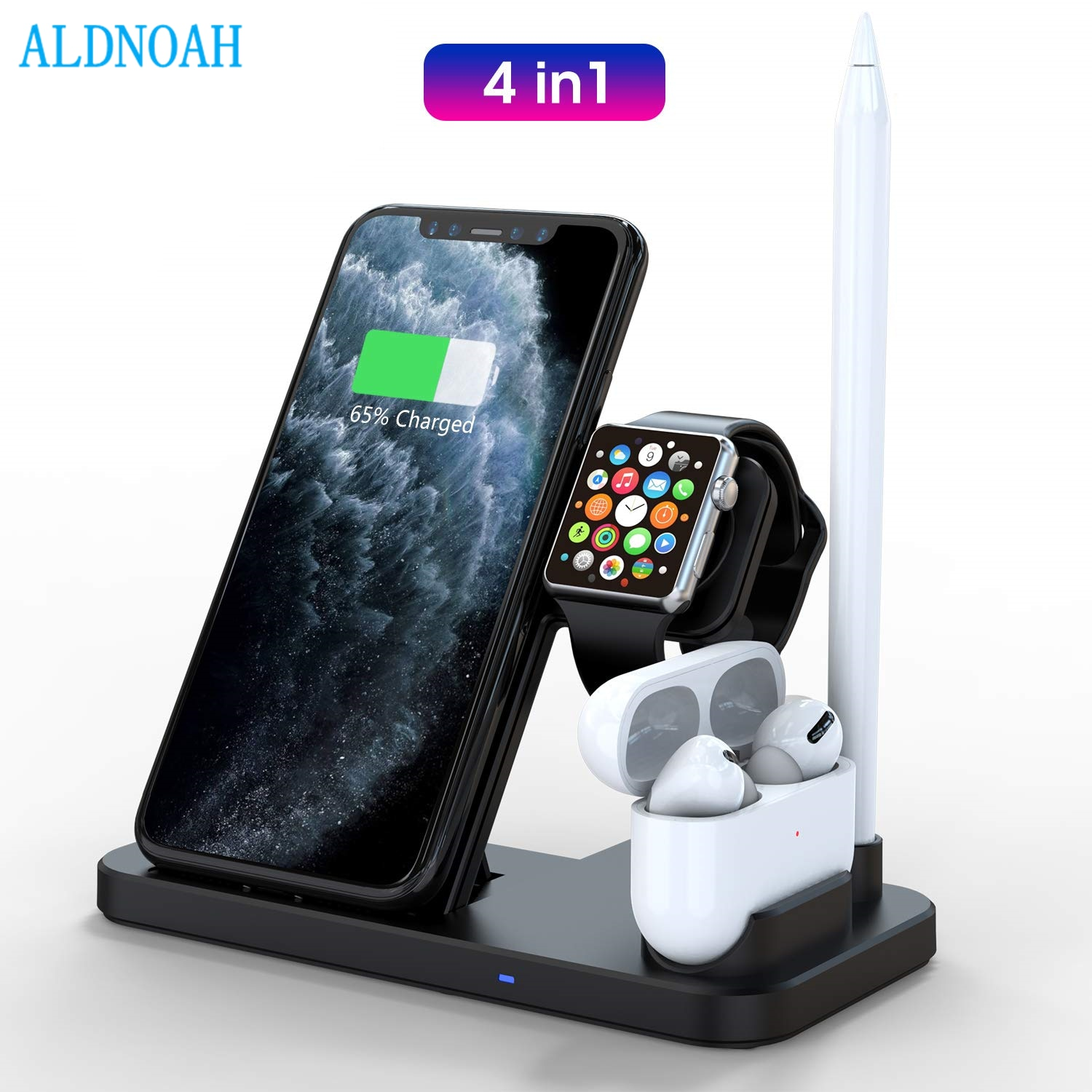 Wireless Charging Station 4 in 1 Dock Compatible with Apple iWatch Series SE 6 5AirPods and Pencil F