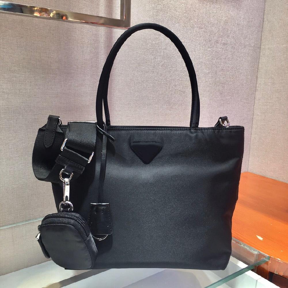 Shopping bag unisex black nylon shopping bag three-in-one bag combination bag fashion all-match handbag shoulder messenger bag