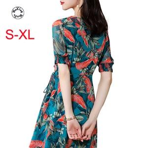 Silk dress new summer lady fashion dress fairy super slim waist show thin silk dress S to XL