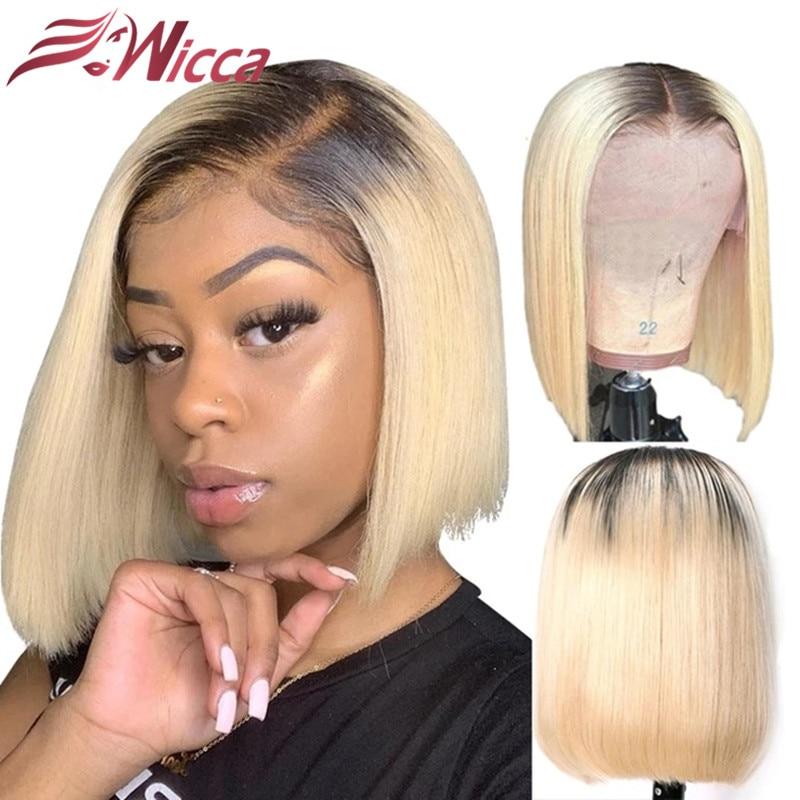 Wicca 1B/613 raíces oscuras peluca recta con corte Bob 150% densidad 13x4 peluca con malla frontal Ombre Peluca de pelo humano brasileño Remy para mujeres